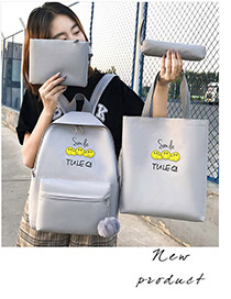 Fashion Gray Cartoon Letter Print Backpack