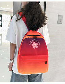 Fashion Red Oxford Cloth Contrast Backpack