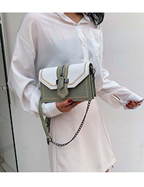 Fashion Green And White Contrast Chain Embroidery Thread Lock Buckle Shoulder Bag