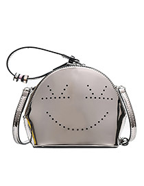 Fashion Champagne Hollow Smiley Shell Bright Face Portable Diagonal Package