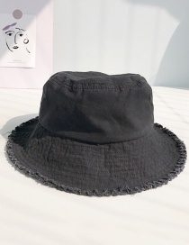 Fashion Solid Color Wide Raw Black Frayed Folding Cap