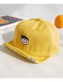 Fashion Little Girl Turmeric Cartoon Embroidered Baby Cap
