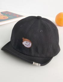 Fashion Little Girl Black Cartoon Embroidered Baby Cap
