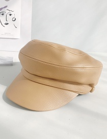 Fashion Litchi Leather Hat Khaki Pu Leather Beret