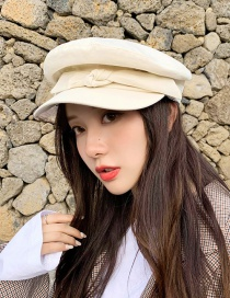 Fashion Flat Top Strap Beige Bow Cotton Flat Top Beret