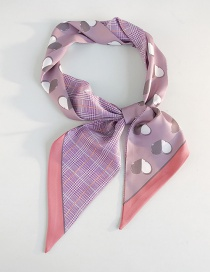 Fashion Two-color Love Houndstooth Gray Purple Wide Strip Double Sided Small Scarf