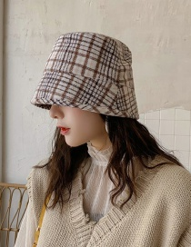 Fashion Houndstooth Bucket Cap Khaki Houndstooth Man's Flat Cap