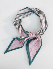 Fashion Houndstooth Flower Pink Houndstooth Printed Silk Scarf