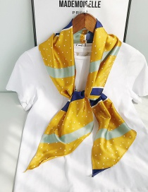 Fashion Beveled Yellow And Blue Stripes Long Single-layer Single-sided Printed Small Silk Scarf