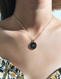Fashion Black Alloy Drop Oil Star Moon Necklace