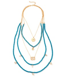 Fashion Blue Alloy Palm Multi-layer Rice Bead Necklace