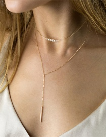 Fashion Gold Double Stainless Steel Strip Pearl Necklace