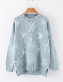 Fashion Blue Pentagram Jacquard Round Neck Knit Sweater