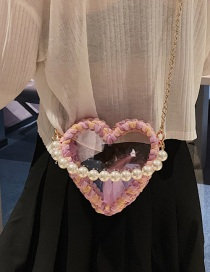 Fashion Pink Woven Heart Shaped Transparent Pearl Handbag Shoulder Crossbody Bag