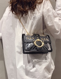Fashion Black Rivet One-shoulder Transparent Chain Crossbody Bag