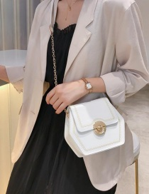 Fashion White Chain Hexagonal Embroidery Line Shoulder Messenger Bag