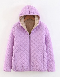 Fashion Purple Checked Lamb Hooded Hooded Padded Coat