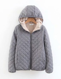 Fashion Dark Gray Checked Lamb Hooded Hooded Padded Coat