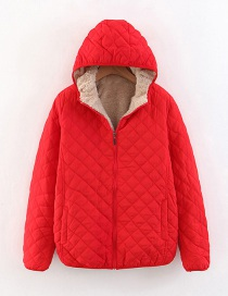Fashion Big Red Checked Lamb Hooded Hooded Padded Coat