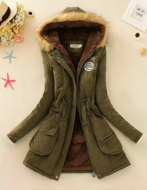 Fashion Armygreen Thickened Hooded Long Fur Collar Lamb Fluffy Drawstring Cotton Coat