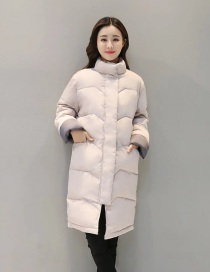 Fashion Creamy-white Standing Collar Long Coat