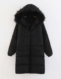 Fashion Black Detachable Hat Fur Collar Long Cotton Coat