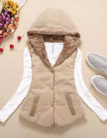Fashion Khaki Thickened And Velvet Hooded Cotton Vest
