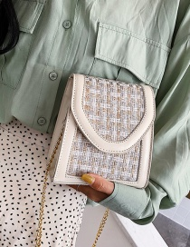 Fashion White Nizi Chain Stitching Shoulder Crossbody Bag