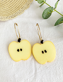 Fashion Yellow Apple Alloy Circle Fruit Earrings