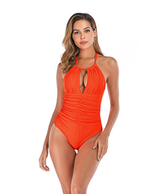 Fashion Orange Solid Color One-piece Swimsuit
