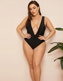 Fashion Black Deep V One-piece Swimsuit