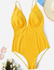 Fashion Yellow Solid Color One-piece Swimsuit