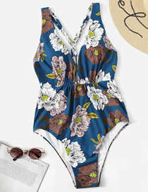 Fashion Blue Flowers Printed One-piece Swimsuit