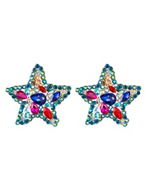 Fashion Color Acrylic Diamond Five-pointed Star Earrings