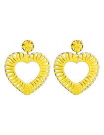 Fashion Yellow Love Heart Shaped Lafite Earrings