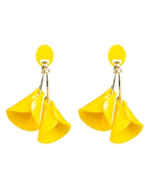 Fashion Yellow Double-layered Floral Acetate Plate Earrings