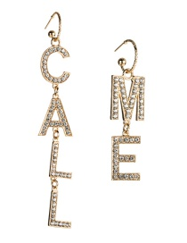 Fashion Gold Letter Call Me Acrylic Diamond Earrings