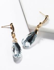Fashion White Drop-shaped Glass Diamond Earrings