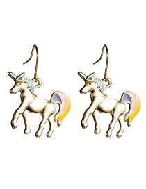 Fashion Unicorn Alloy Drop Oil Unicorn Earrings