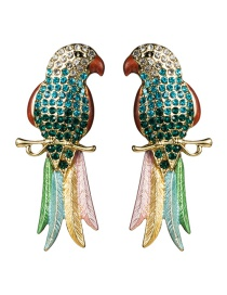 Fashion Green Acrylic Diamond Long-tailed Parrot Earrings
