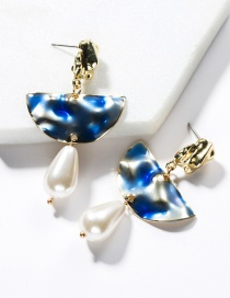Fashion Blue Alloy Semi-circular Drop Oil Imitation Pearl Earrings