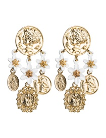 Fashion Gold S925 Silver Pin Multi-layer Alloy Portrait Relief Drip Flower Flower Earrings