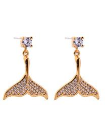 Fashion Short Paragraph 925 Silver Needle Mermaid Stud Earrings