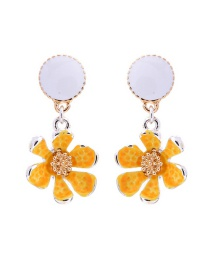 Fashion Yellow S925 Sterling Silver Flower Earrings
