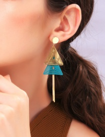 Fashion Blue S925 Sterling Silver Geometric Tassel Earrings
