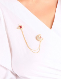 Fashion Red Star And Moon Asymmetric Double Brooch