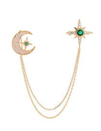 Fashion Green Star And Moon Asymmetric Double Brooch