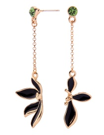 Fashion Black S925 Sterling Silver Asymmetric Drop Glaze Flower Earrings
