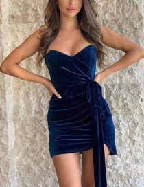 Fashion Navy One-shoulder Gold Velvet Wrap Dress