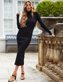 Fashion Black Stand Collar Dress
